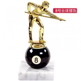 星牌台球奖牌中式黑8号球型奖品杯台球摆件大理石底座人形摆件